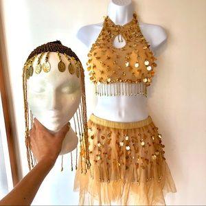 Other - Belly dancer costume Halloween, headdress crop top